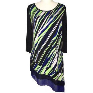 Nygard Bright Bold Striped Asymmetrical Hem Tunic
